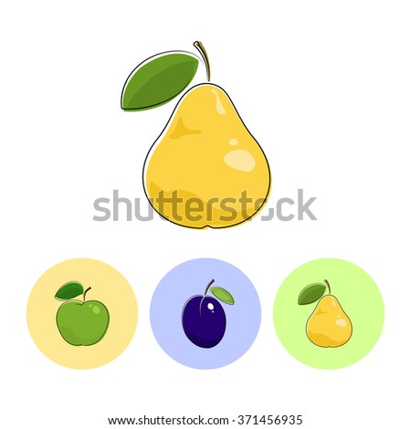 Fruit Pear  on White Background , Set of Three Round Colorful Icons  Apple,  Plum and Pear - stock photo