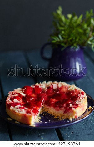 Fruit pie on the table - stock photo
