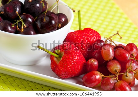 fruit platter for a healthy diet - stock photo