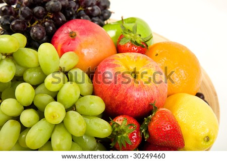 Fruit Platter with Apples, Red Grapes, Green Grapes, Mango, Lemon ...