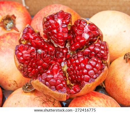 Fruit pomegranate shelled - stock photo