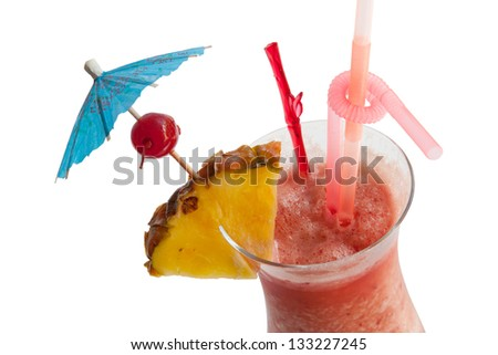 Fruit punch cocktail isolated on white background,closeup