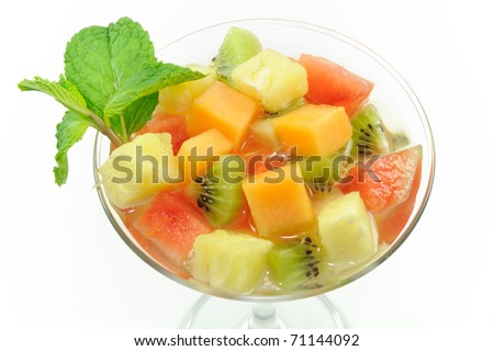 Fruit Salad in Cocktail glass.