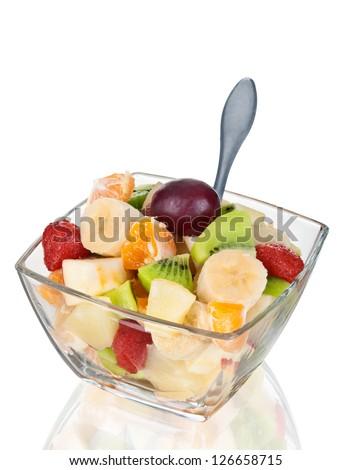 Fruit salad in glass boil - stock photo