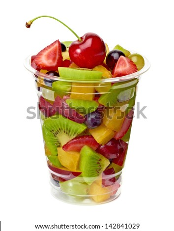 Fruit salad in take away cup on white background - stock photo