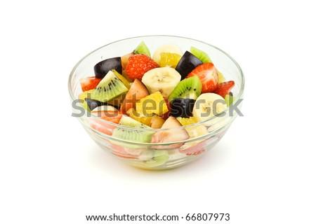 fruit salad isolated on white - stock photo
