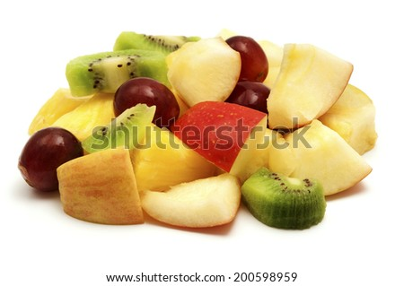 Fruit salad on a white background - stock photo