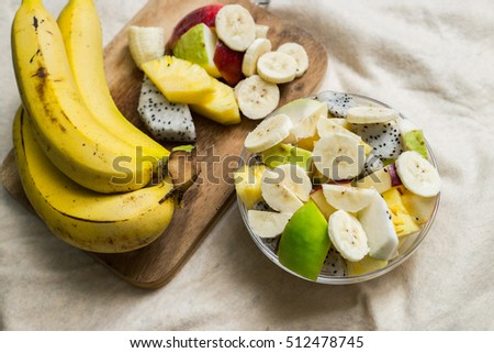 Fruit salad on whites background