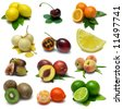 Fruit Sampler - isolated fruits with clipping path - stock photo