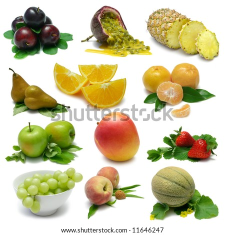 Fruit Sampler with clipping paths - stock photo