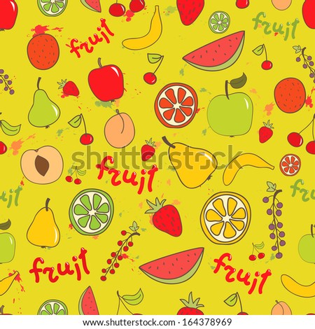 Fruit seamless bright pattern. Apple, peach, banana, cherry, orange, lemon, watermelon on bright background. Can be used for wrapping, textile, wallpaper. - stock photo