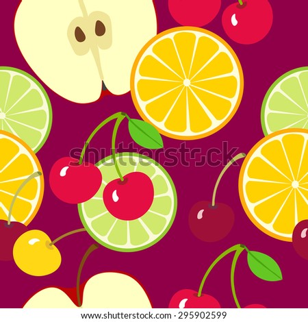Fruit seamless  pattern. Apple, orange slice and cherries. Fruit summer background