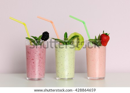 fruit smoothies - stock photo