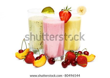 Fruit smoothies with  cherry, strawberry and  peach isolated on white background