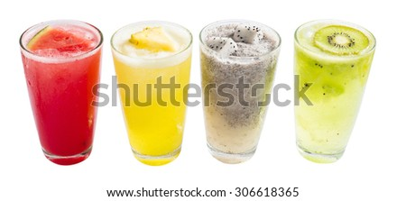 Fruit smoothies with dragon fruit, kiwi, watermelon, Pineapple on white background, Clipping Path