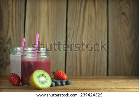 Fruit smoothies with space - stock photo