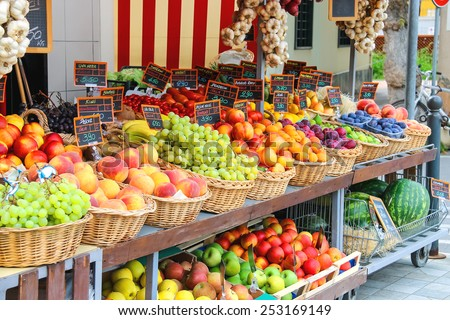 Fruit stall in the Italian city market - stock photo