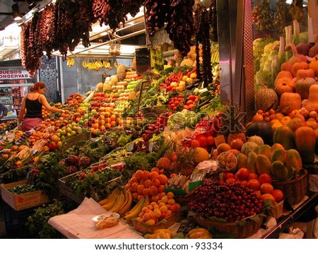 Fruit stand at the Boqueria market in Barcelona, Spain - stock photo