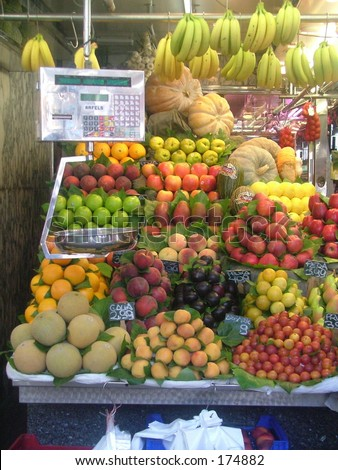 fruit stand in Boqueria market in Barcelona