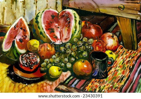 Fruit still-life with a water-melon and a pomegranate - stock photo