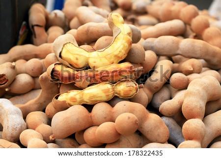 fruit tamarind in the market - stock photo