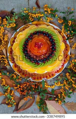 fruit tart.Fresh and tasty cake with strawberry and blueberry. fruit cheese cake - stock photo