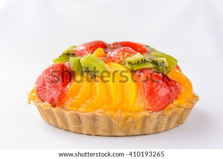 Fruit Tart on white background