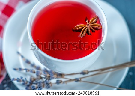Fruit tea cup with lavender, top view