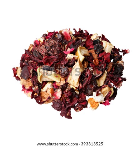 Fruit tea mix. Hibiscus, raspberries, candied peel, orange, lemon, rose, apples. - stock photo
