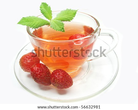 fruit tea with strawberry and fresh mint - stock photo