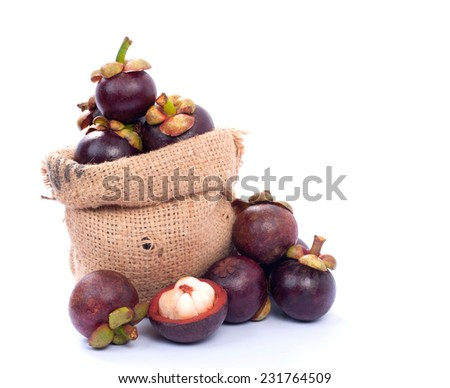 Fruit Thailand , Mangosteen on white background - stock photo