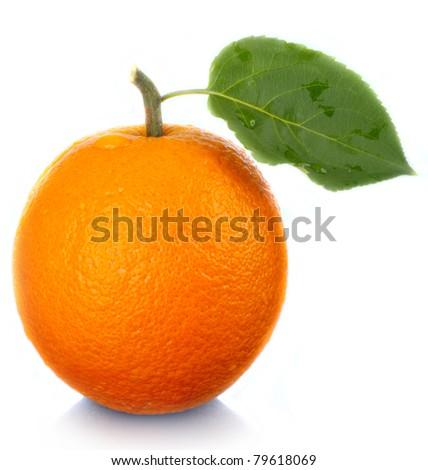 Fruit the fresh tasty. An orange. - stock photo
