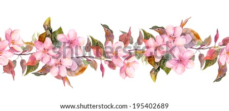 Fruit tree (apple or cherry) flowers. Seamless floral strip border. Botanic watercolor painted banner  - stock photo