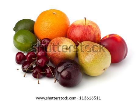 Fruit variety isolated on white background - stock photo