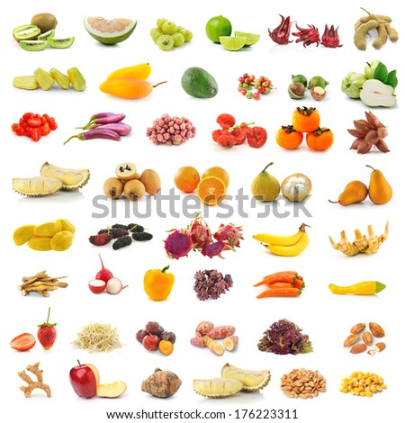 fruit, vegetable, herb, spices isolated on white background