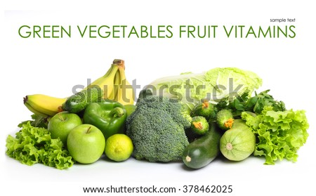 Fruit vegetables green vitamin isolated white background - stock photo