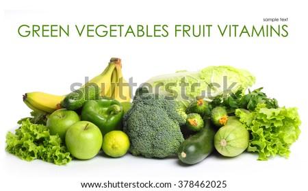 Fruit vegetables green vitamin isolated white background - stock photo