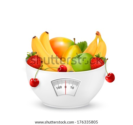 Fruit with in a weight scale. Diet concept. Raster version - stock photo