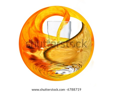Fruit Wrap, concept for refreshment and Health with Orange Lemon and Lime wrapped around outside of Glass - stock photo