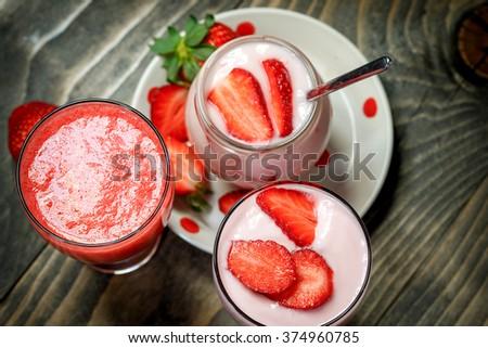 Fruit yogurt - strawberry yogurt and strawberry smoothie for healthy eating - stock photo