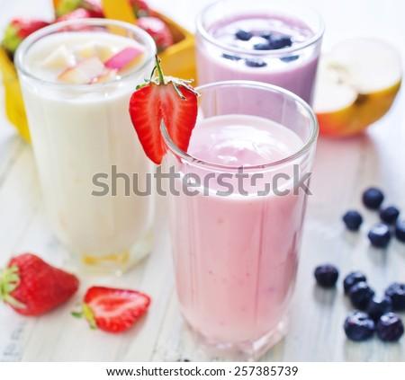 fruit yogurts - stock photo