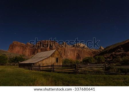 Fruita Barn at night - stock photo