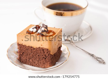 Fruitcake.Sweet dessert biscuit.Morning Coffee - stock photo