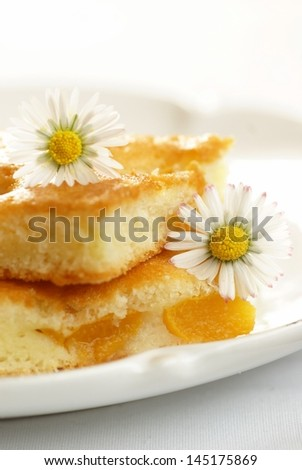 Fruitcake with peach and daisy flowers on white plate