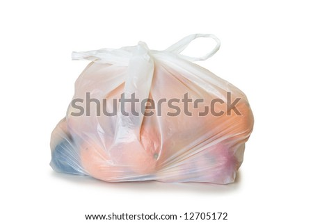 Fruits a plastic bag isolated on white background environment - stock photo