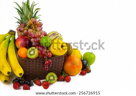 Fruits All Together Full of Vitamins - stock photo