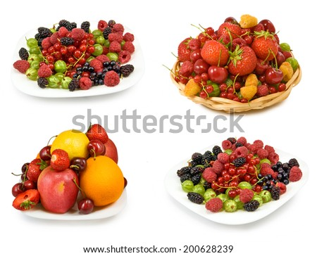 fruits and berries in a plate on a white background closeup - stock photo