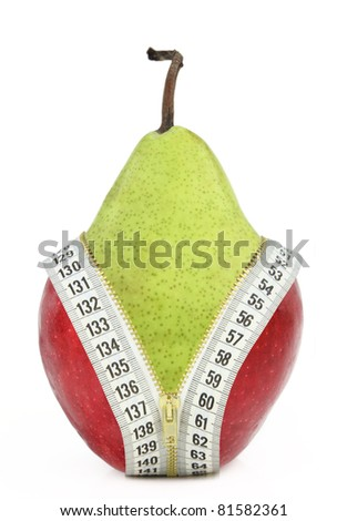 Fruits and diet against fat - stock photo