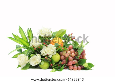 Fruits and flowers together - stock photo