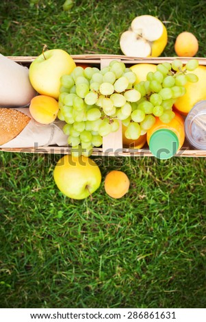 Fruits and Fresh Bread in a Basket on Green Grass, Vertical image with copy space - stock photo